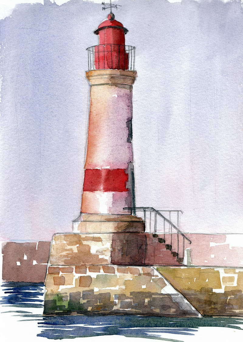 A few watercolors and drawings mainly from paris - Dessin de phare ...